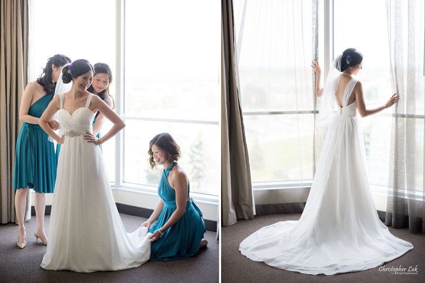 Christopher Luk - Toronto Wedding Lifestyle Event Photographer - Photojournalistic Natural Candid Hilton Suites Markham Bride Getting Ready Bridal Prep Grecian Bridesmaids Deep Teal Henkaa Dress Dresses