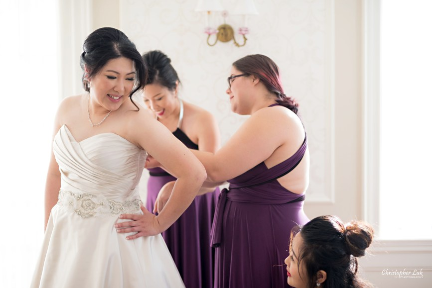 Toronto Wedding Photographer Heintzman House Winter Wedding Markham York Region Historic Estate Event Venue Photojournalistic Documentary Candid Natural Creative Bridal Room Bride Bridesmaids Getting Ready Corset Dress Gown Plum Purple Henkaa Close Up