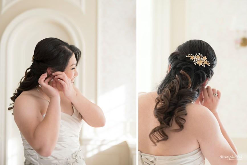 Toronto Wedding Photographer Heintzman House Winter Wedding Markham York Region Historic Estate Event Venue Photojournalistic Documentary Candid Natural Creative Portrait Session Bride Bridal Getting Ready Earrings Hairpiece Hair Stylist Detail