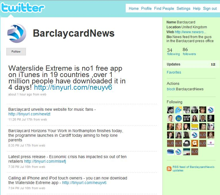 Barclaycard News Twitter Account