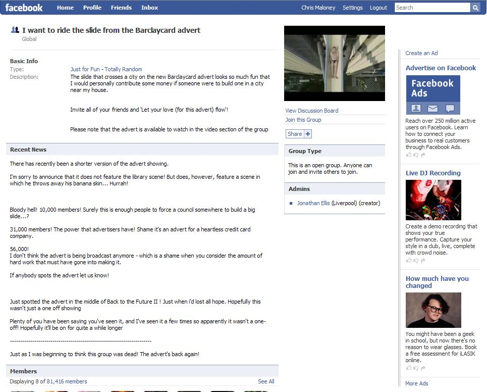 Unofficial Facebook Group - I want to ride the Barclaycard slide