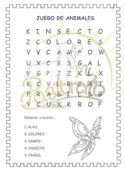 palabras ocultas colouring pages