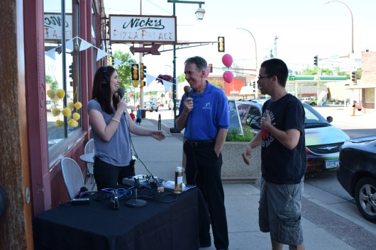 Zach and I being interviewed by Molly Penny of KOWZ Radio in Owatonna during a live radio remote broadcast