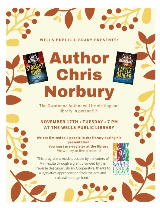 Poster of Wells Library Author Chris Norbury
