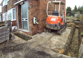 Footings for the porch and side wall.
