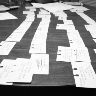notecards for a comic script