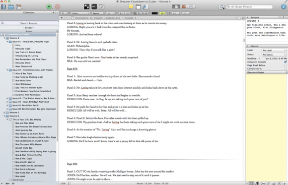comic scripting using Scrivener