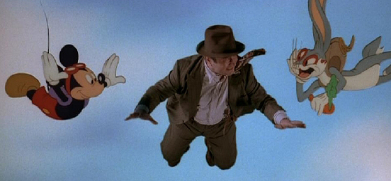 Eddie Valiant Plummets With Mickey and Bugs in 'Who Framed Roger Rabbit?'