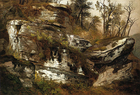 'Rocky Cliff' by Asher Brown Durand is a great example of how texture can communicate the overall proportion of individual forms.