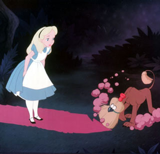 A broom dog sweeps away the path in front of Alice. Scene from Disney's classic animated feature 'Alice In Wonderland.'