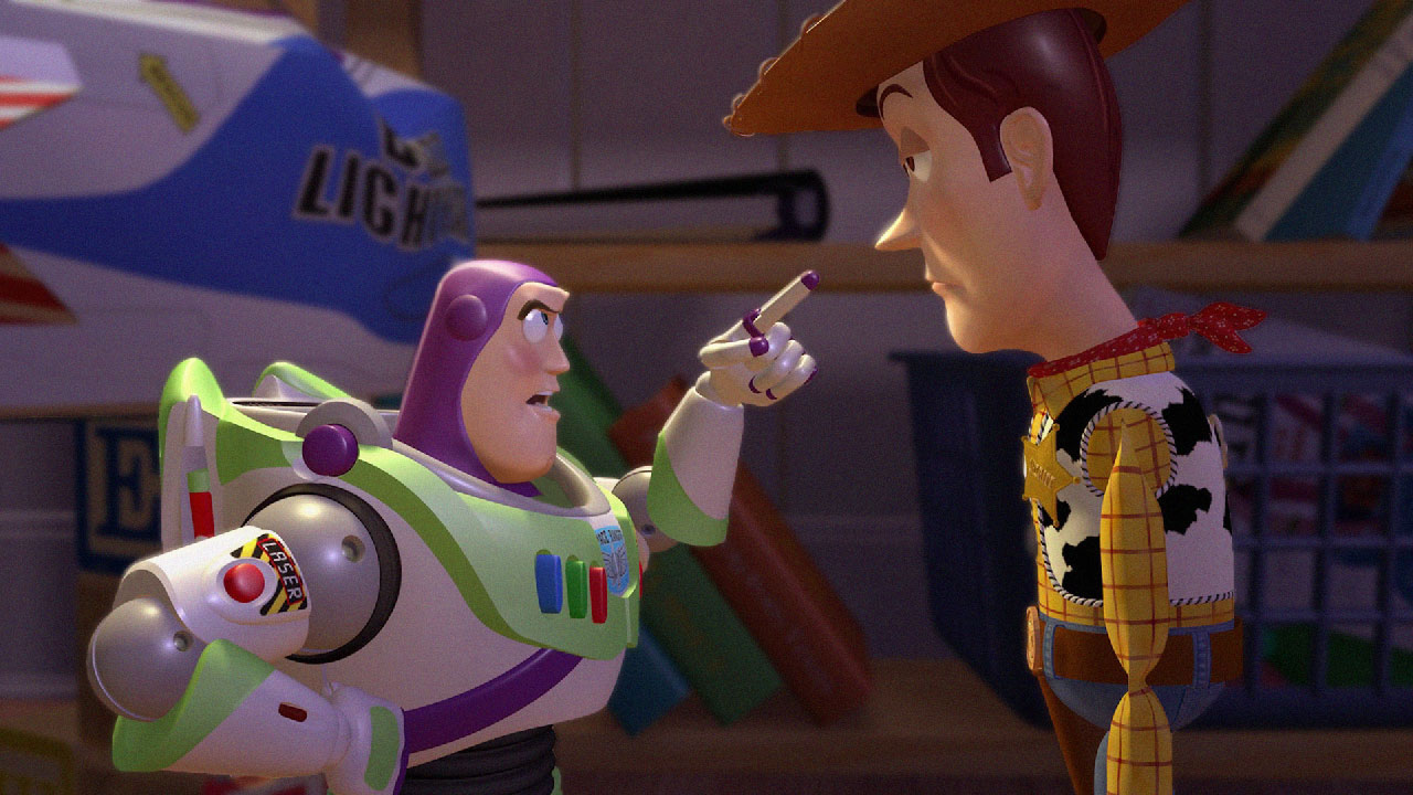 Buzz Lightyear puffs his chest. Woody is unimpressed.