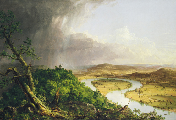 In Thomas Cole's epic painting 'The Oxbow' the textures play a major role in communicating dynamic scale.