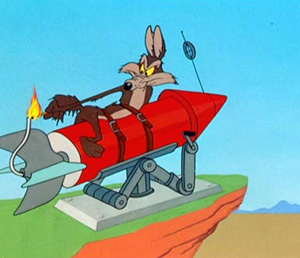 Wile E. Coyote Straps Himself To A Rocket