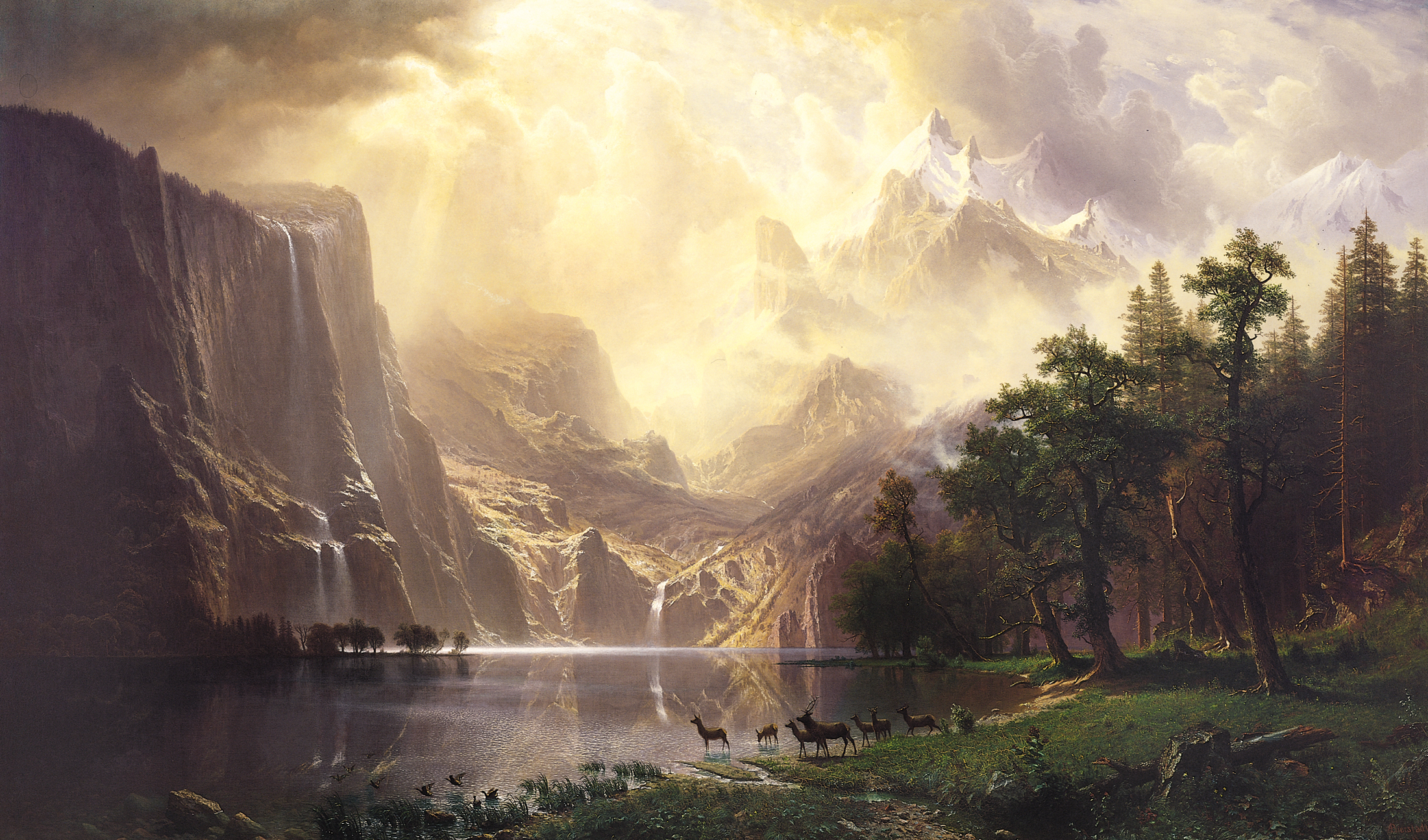 'Among The Sierra Nevada Mountains' by Albert Bierstadt