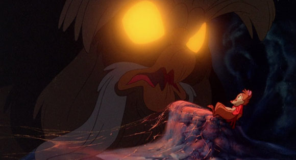 Mrs. Brisby meets The Owl in The Secret Of Nimh