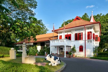 Architectural Photography of the Main Clubhouse at Swiss Club Singapore Side Angle of facade