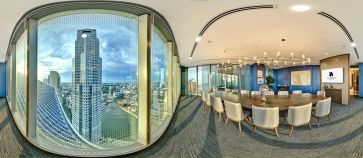 360 degree virtual tour photo of sky premium boardroom with view of singapore at dusk