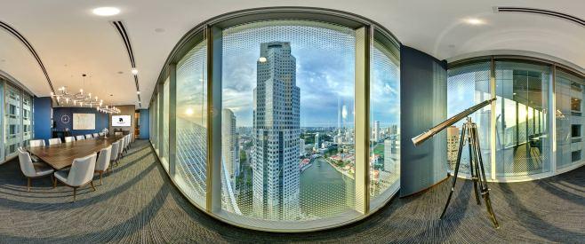 360 degree virtual tour photo of sky premium boardroom with skyline view of singapore