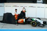 Sergio Perez and Nico Hulkenberg unveil the Force India VJM07 (Image: Force India F1 Team)
