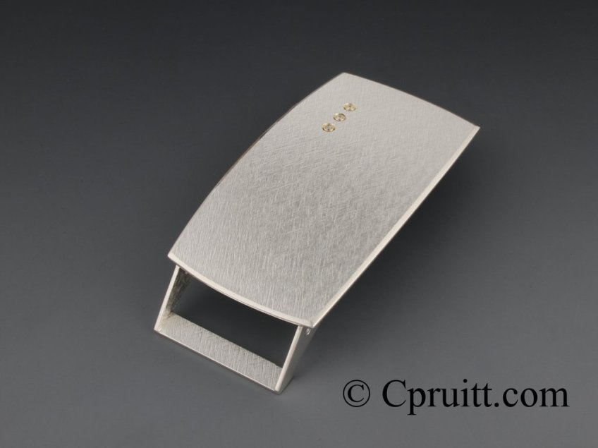 Sterling Buckle Cross Hatch with Diamonds 4