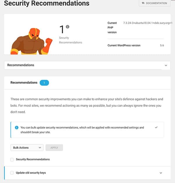 Sugerencias de seguridad WordPress Defender