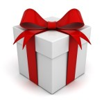 White gift box with a red ribbon and bow
