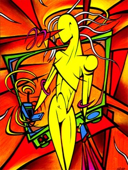 Abstract Figure painting by Chris Shaw, 1995