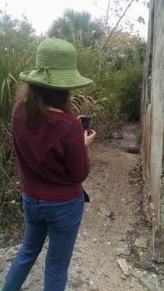 Jen photographing tortoise nest