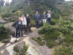 Hiking on a geology and ecology tour with co-workers at Whistler
