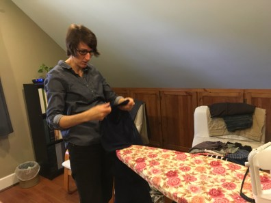 Jan ironing my dress. She is my hero.