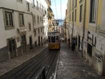 The funicular in Bairro Alto, Lisbon.