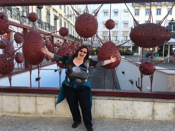Lise enjoying art in the city.