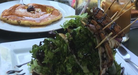 Portobello mushroom sandwich and cherry pancakes.