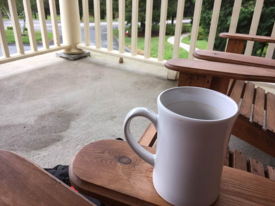 Working on the porch