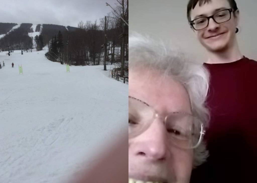 This image was actually taken at the end of the run. It's David and Aunt Anne checking out the slopes.