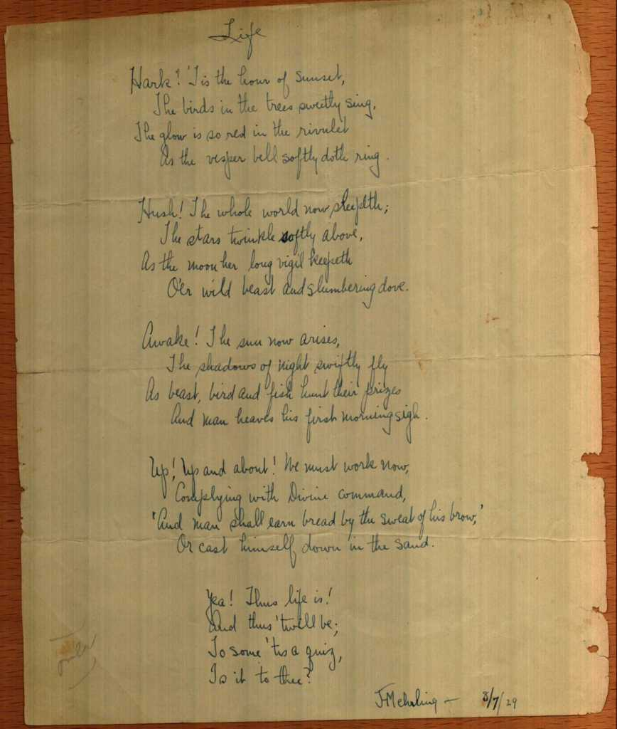 Poem from the early 1900s