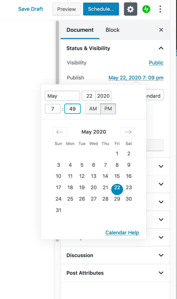 Showing how to schedule posts with the scheduling tool in the editor.