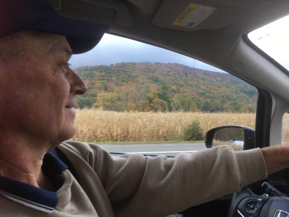 Fall foliage in the Berkshires as we drove to the airport.