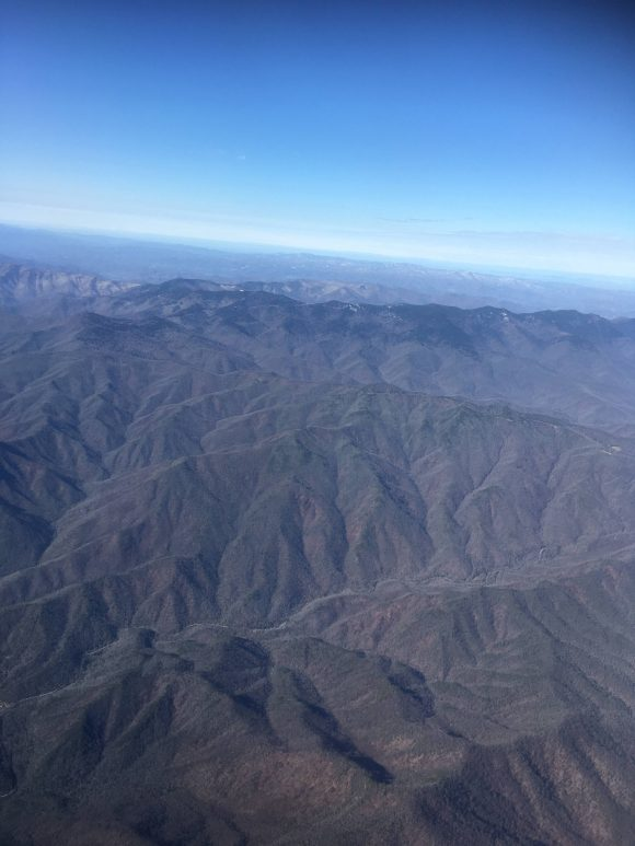 Looking at the mountains from the plane.