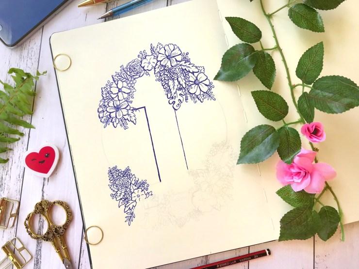 Work in Progress - Number 1 floral ink