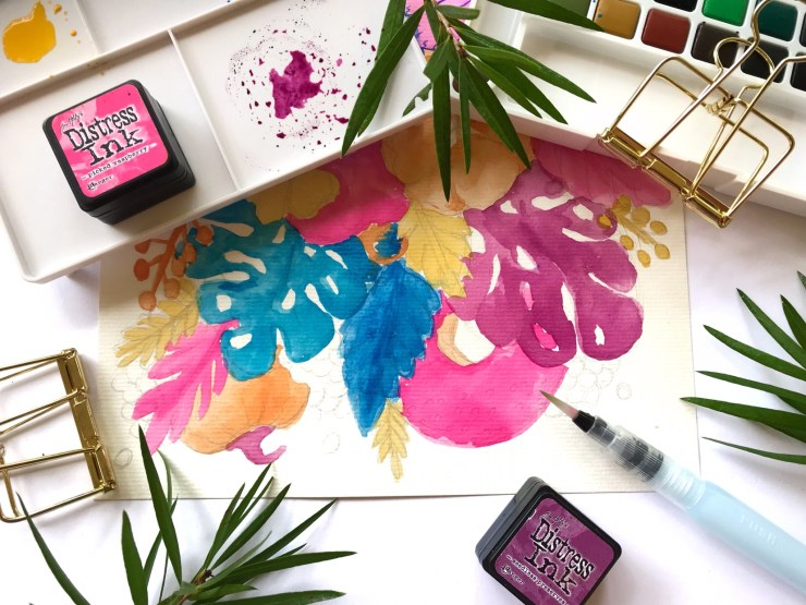 Work in progress - Watercolour and Ink Florals