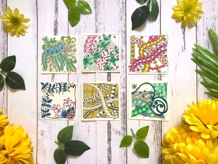 My coloured zentangle tiles