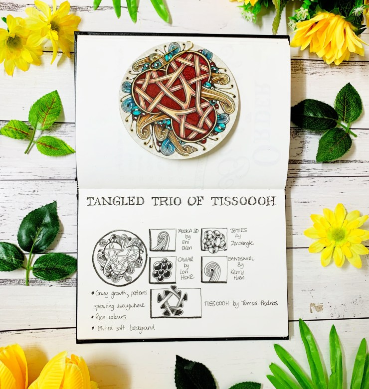 Tangle Recipe Card for Tangled Trio of Tissoooh Zentangle Tile