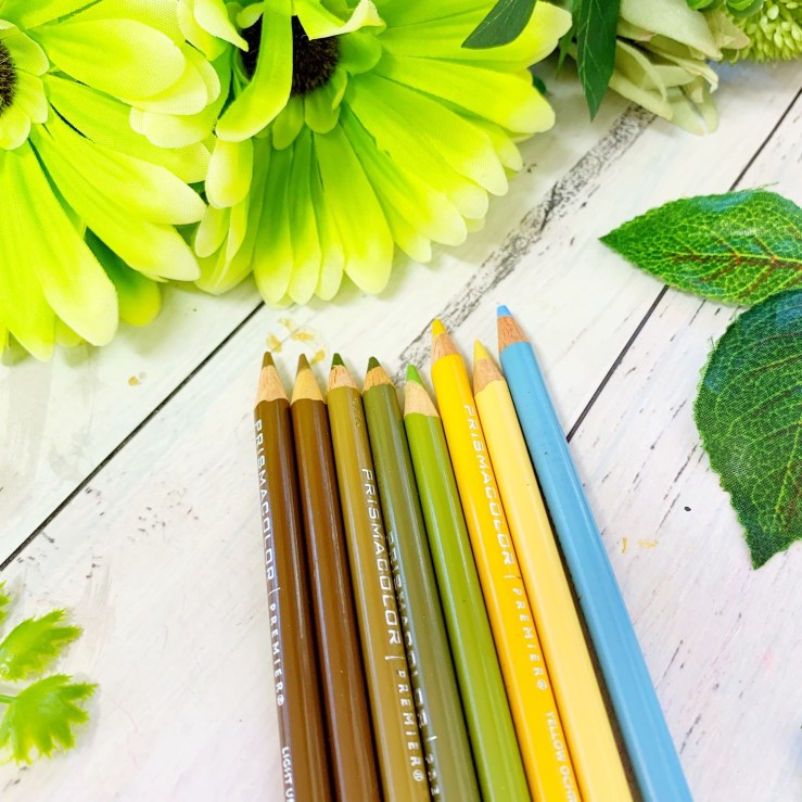 Pencils used for the Stencilled Nvelope Tangleation using Die Cut Florals