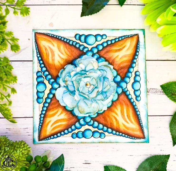 Stencilled Nvelope Enhancer using Die Cut Florals