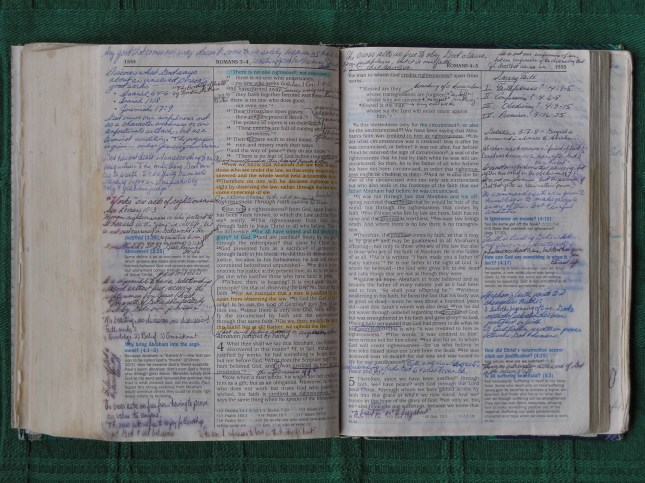 notes written on pages of Bible