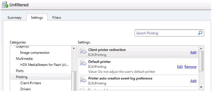 Citrix XenDesktop + Default printers not sticking
