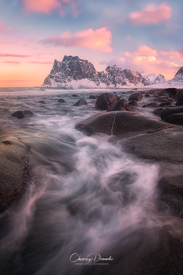 Winter Landscape Photography in Lofoten Islands Fjord of Norway