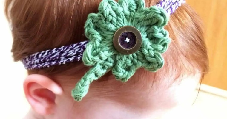 Four Leaf Clover Crochet Headband