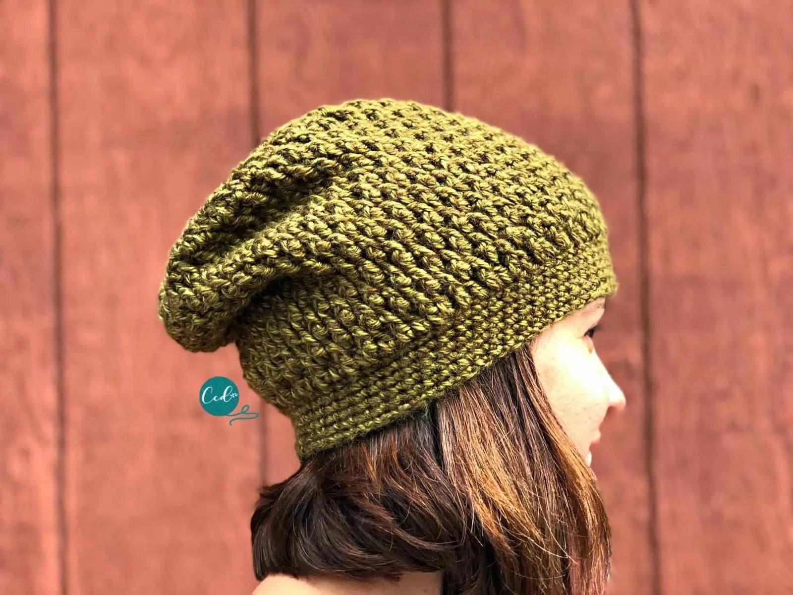 Textured Slouchy Hat Free Crochet Pattern